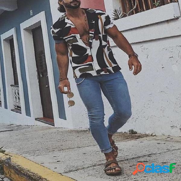 Algodão casual verão masculino soft impressão multicolorida férias camisa