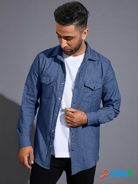 Homens outono casual jeans liso duplo bolso manga longa camisa