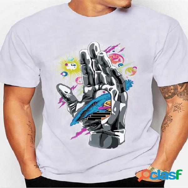 Masculino summercasual algodão soft t-shirt com estampa gráfica de figuras digitais