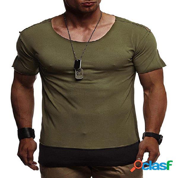 Masculino verão casual algodão soft camiseta lisa patchwork