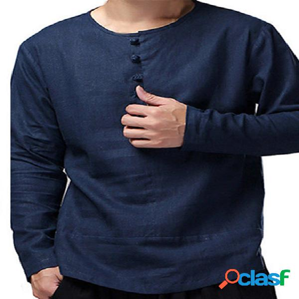 Masculino outono casual simples manga longa botão frente camiseta