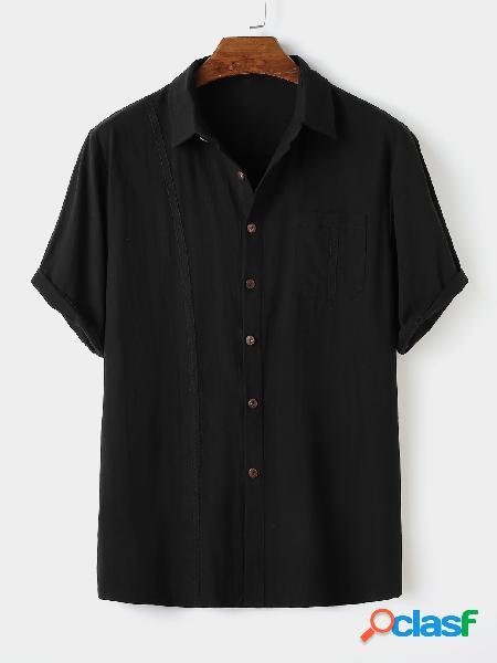 Algodão casual masculino soft bolso frontal com botão liso camisa