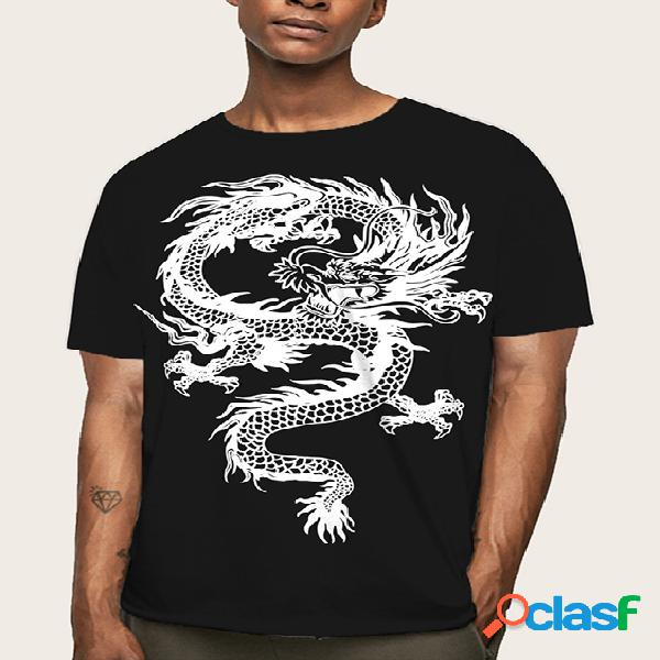 Masculino verão casual algodão soft graphic dragão camiseta estampada