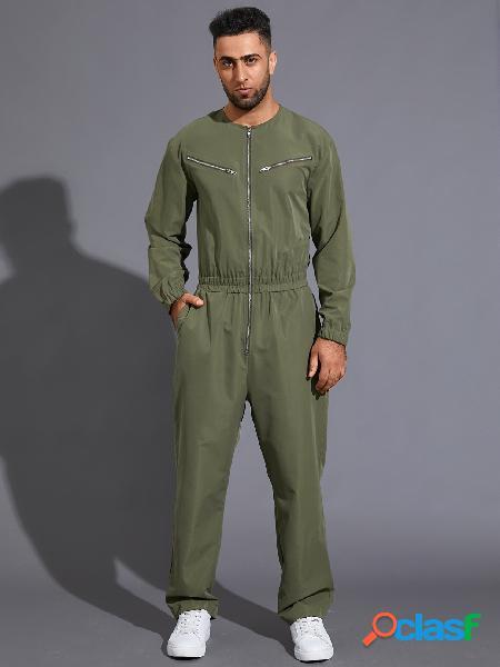 Macacão masculino com zíper no bolso manga comprida elástica cintura