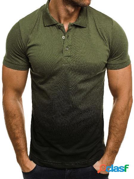 Masculino verão casual algodão soft polos de bloco de cores ombre