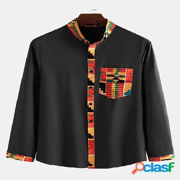 Incerun homens estilo étnico impressão geométrica manga comprida botão acima camisa