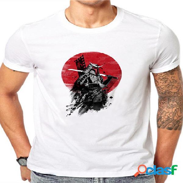 Camiseta masculina verão casual algodão soft branco cartoon gráfico