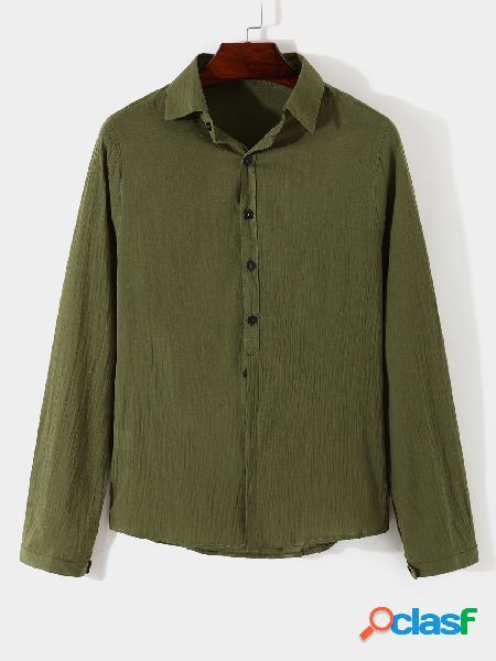 Homens outono casual liso manga longa todos os dias camisa