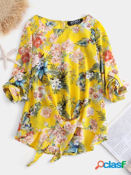 Yoins blusa amarela ajustável com estampa tropical e decote redondo