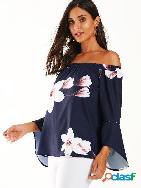 Yoins blusa com estampa floral marinho off the shoulder bell mangas