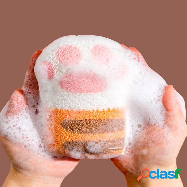 Cat paw bath cotton banheiro bola de banho para bebê xampu para bebê esponja de banho de artefato para crianças toalha t