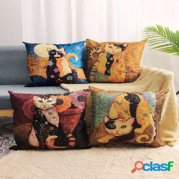 4 unidades do mural de arte para gato com impressão de linho fronha para carro capa de almofada capa de almofada de sofá