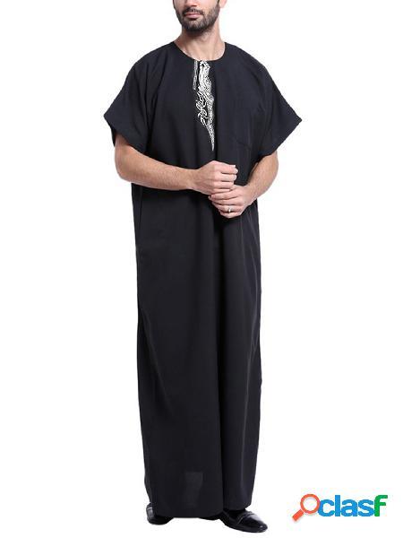 Incerun homens muçulmano islâmico manga curta retro solto robe t-shirt