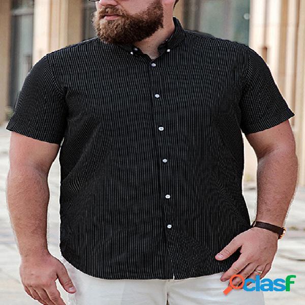 Incerun homens verão casual solto manga curta listrado camisa
