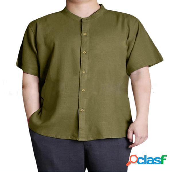 Incerun homens verão manga curta vintage chinês de botões de linho camisa