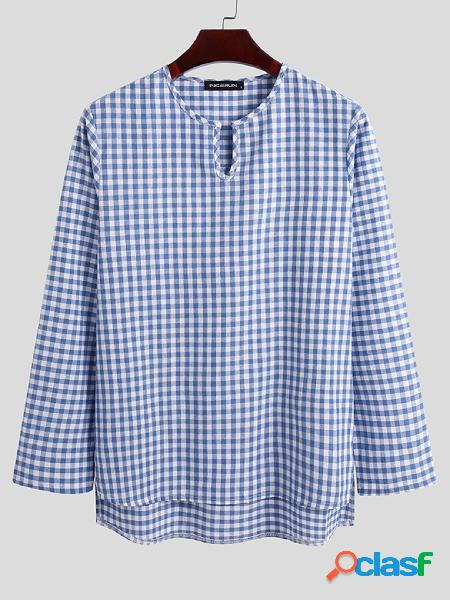 Conjunto de pijama de manga comprida casual casual masculino xadrez incerun