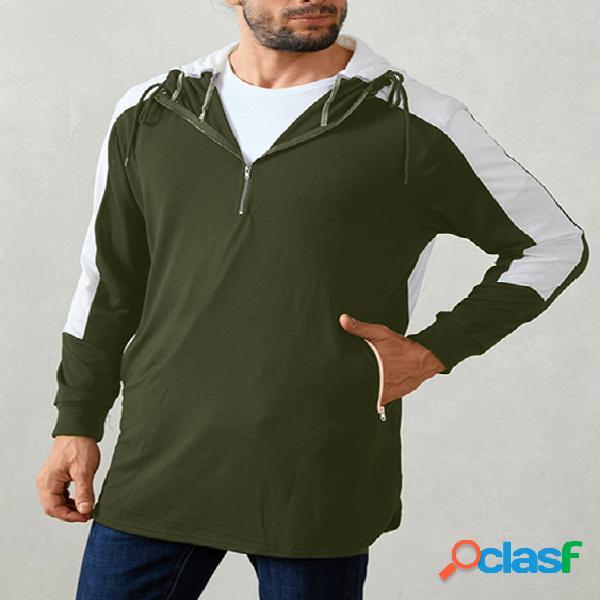 Homens casual soft capuz patchwork color block slit hem hoodies