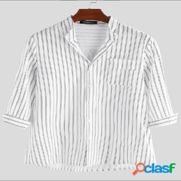 Incerun homens casual stripe button up stand collar camisa
