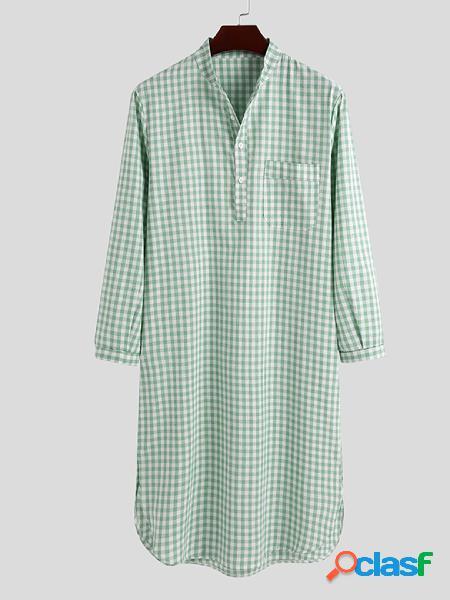 Incerun masculino manga longa check pijama algodão camisas noturnas bata kaftan camisa roupão longa