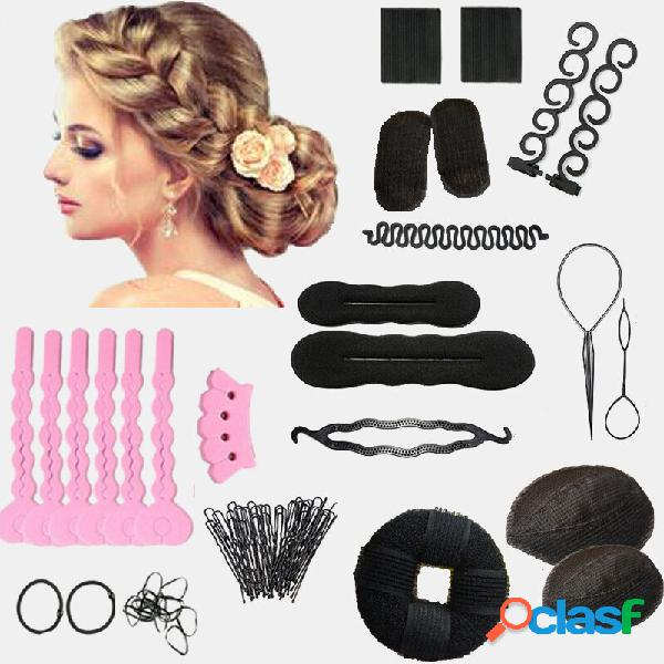 14pcs diy cabelo styling accessories kit pads cabelopins rolete braid twist sponge modeling cabelodress braid tools kit
