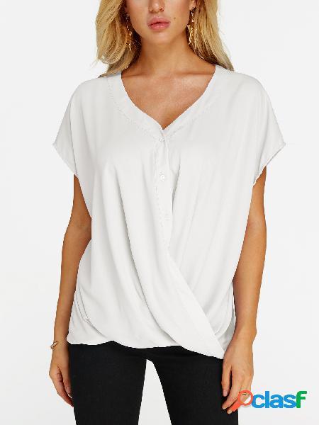 Blusa de mangas curtas com decote em V branco cruzado frontal Design