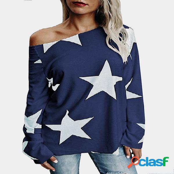 Camiseta de manga comprida de ombro da Star One da marinha