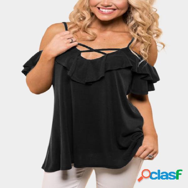 Camisetas pretas sem encosto Design com decote em V de mangas curtas