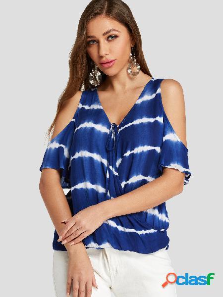 Yoins blue crossed front design blusa tie dye stripe cold shoulder