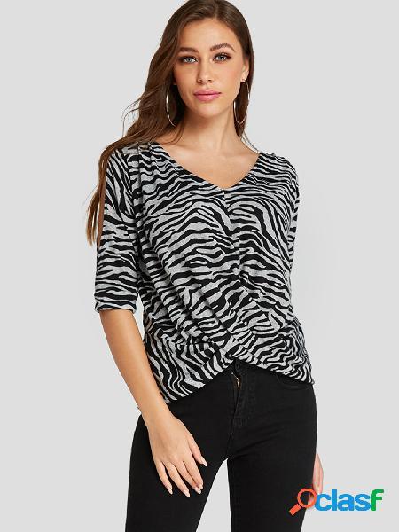 Yoins grey crossed front zebra cold shoulder tee