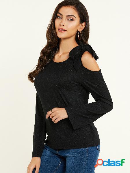 Yoins camiseta de mangas compridas com nó preto cold shoulder