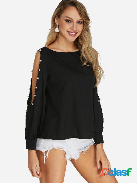Blusas black cold shoulder design com decote redondo e mangas para lanterna