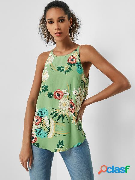 Camiseta de alças de verão com estampa floral floral verde