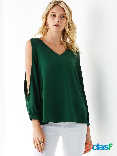 Yoins green cold shoulder design blusa de mangas compridas