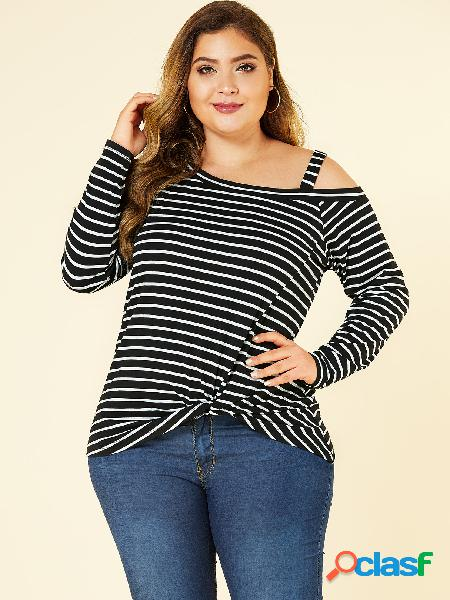 Yoins plus camiseta black twist stripe cold shoulder