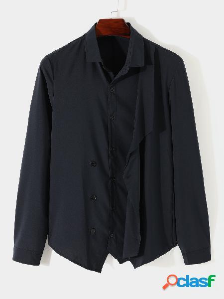 Yoins basics homens casual outono algodão liso multi-botão moda camisa