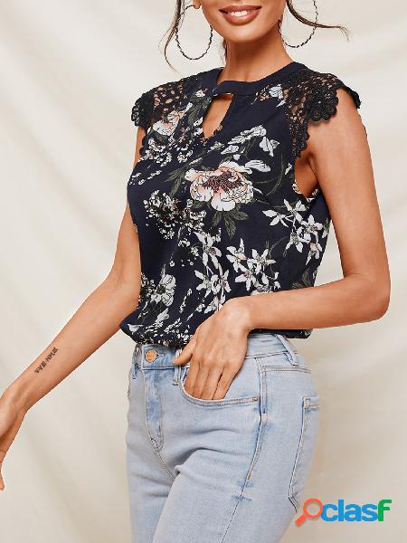 Yoins blusa sem mangas com estampa floral com estampa floral