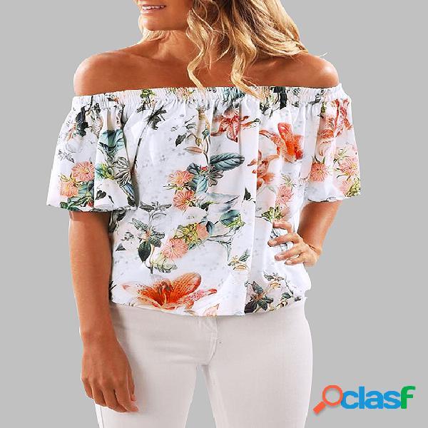 Blusa elástica com estampa floral aleatória