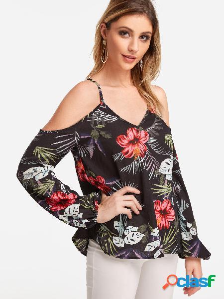 Blusas de mangas compridas pretas aleatórias com estampa floral de ombro