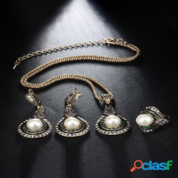 Conjunto de joias femininas em formato de cabaça de 3 peças vintage com anel de colar ajustável de cristal pérola brinco