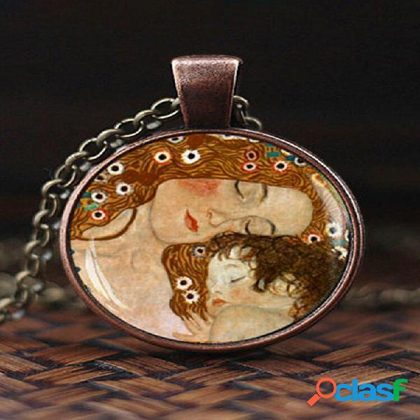Colar ajustável mountain fish sea fish masculino feminino vidro impresso pingente