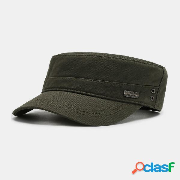 Distintivo de metal de algodão masculino para decoração de moda ao ar livre militar chapéu plano chapéu com bico