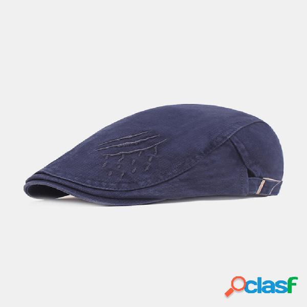 Algodão masculino bordado casual padrão plano respirável chapéu boina chapéu frente chapéu