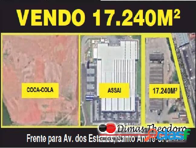 Vd. área comercial 17.000 m² c/ galpão av. dos estados - sto andre sp
