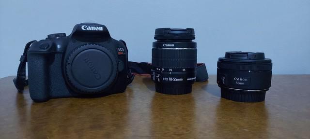 Câmera eos t7 rebel lente 18-55 mm e 50 mm