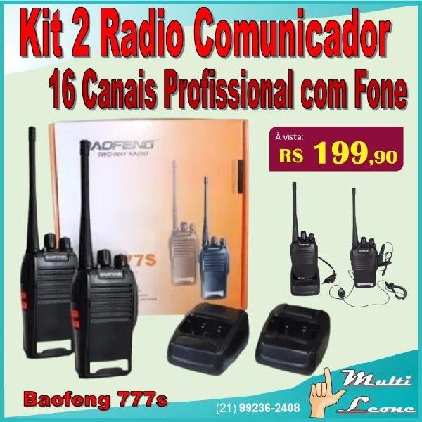 Kit 2 radio comunicador baofeng 777s vhf/uhf 16 canais