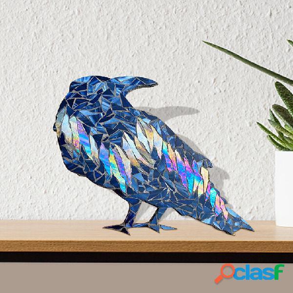 1 pc aurora boreal suncatcher feito à mão em forma de corvo decoração de jardim doméstico em acrílico