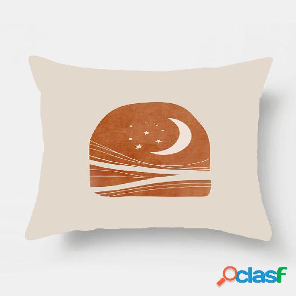 1 pc lua impressão simples fronha decoração de casa sofá sala de estar capa de almofada de carro