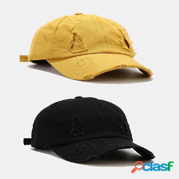 Algodão masculino buracos quebrados moda guarda-sol ao ar livre beisebol chapéu roupas de duas peças