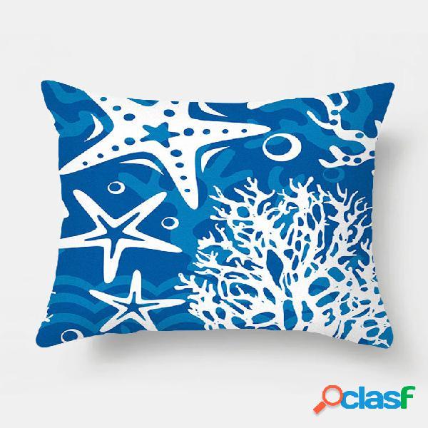 Fronha de almofada com impressão de estrela do mar de 1 pc, decoração da casa, sofá, sala, capa, almofada