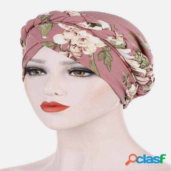 Mulheres impressão campo floral torção floral gorro turbante quimioterapia cap